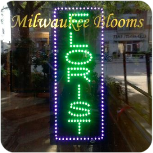 Milwaukee Blooms neon open sign
