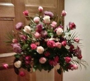 Pink Roses and Lavender Stock - Tribute at Sass Funeral Home in Milwaukee, WI.