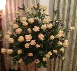 Fresh Sympathy Spray of all Roses at Church and Chapel Funeral Home